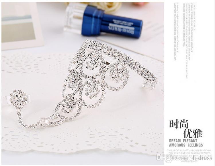 Nova moda branco diamante mão chian jóias prata cadeia mulheres noiva prata acessórios nupciais acessórios de casamento braceletes