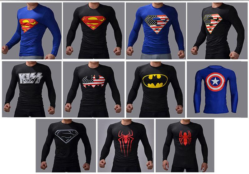 Shirt Tight Sportswear Quick-drying T Shirt Outstanding Features 2018 New Fitness Compression Shirt 3d Printing Long-sleeved White Lightning T