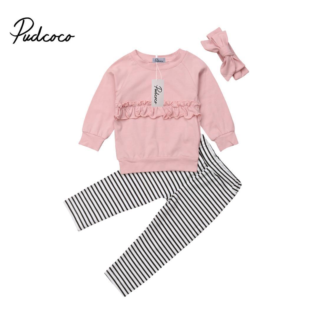6682f5ed0 Compre Bebê Menina Roupas De Outono Roupas T Shirt Plissado Top + Stripe  Calças Legging Criança Algodão Crianças Conjunto De Roupas 6M 5Y De Deve