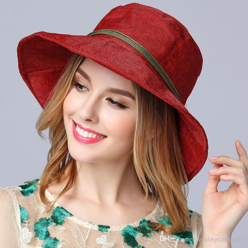 Fashion Designer Foldable Bohemia Hat With Bow Ladies Sinamay Beach ... 4cb655f397f2