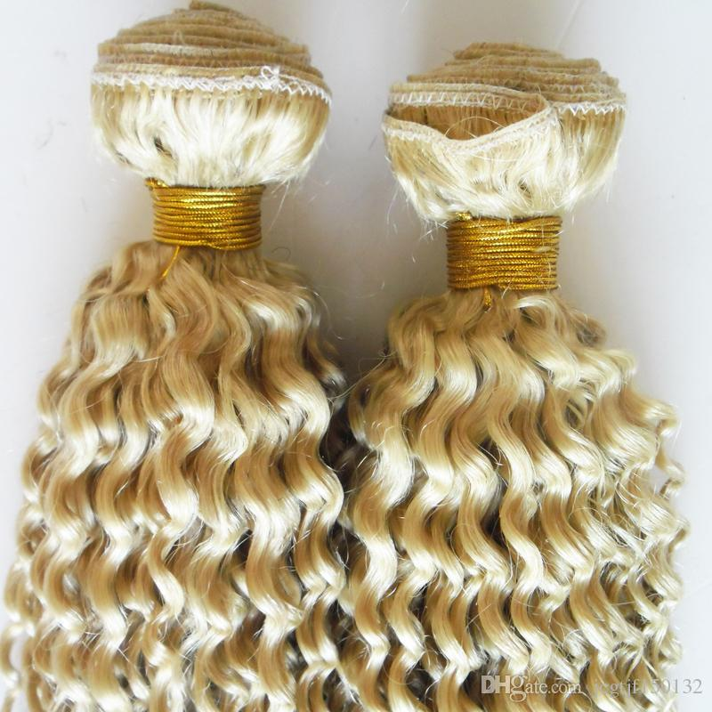 Mongolian Afro Kinky Curly Hair Weave 4B 4C 200g Human Hair Extensions Non-Remy Hair Weaving Bundles Machine Double Weft 613 Blonde