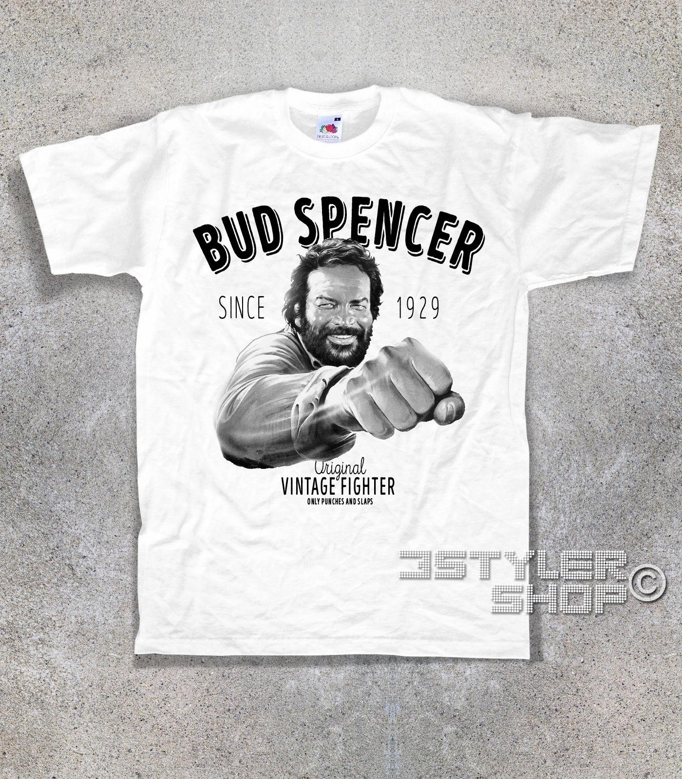 Bud Spencer Terence Hill LOGO FRUIT OF THE LOOM  T-SHIR S-XXL GREY WHITE