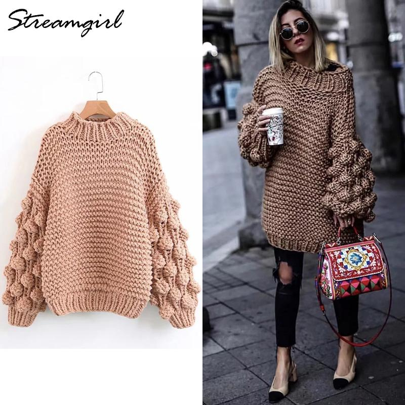 15de2cbdb4 2019 Handmade Sweater Women Knit Lantern Sleeve Oversized Sweater Coarse Knitted  Sweaters For Women Sweaters With Balls Female 2018 From Guchen3