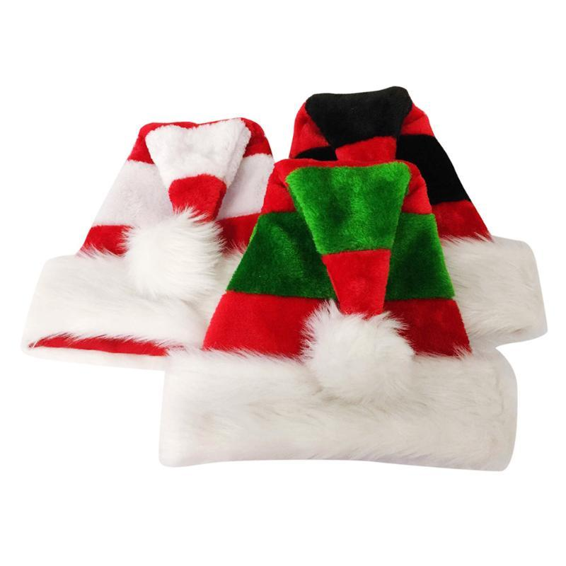 wholesale christmas santa hat red black hats plush layer christmas