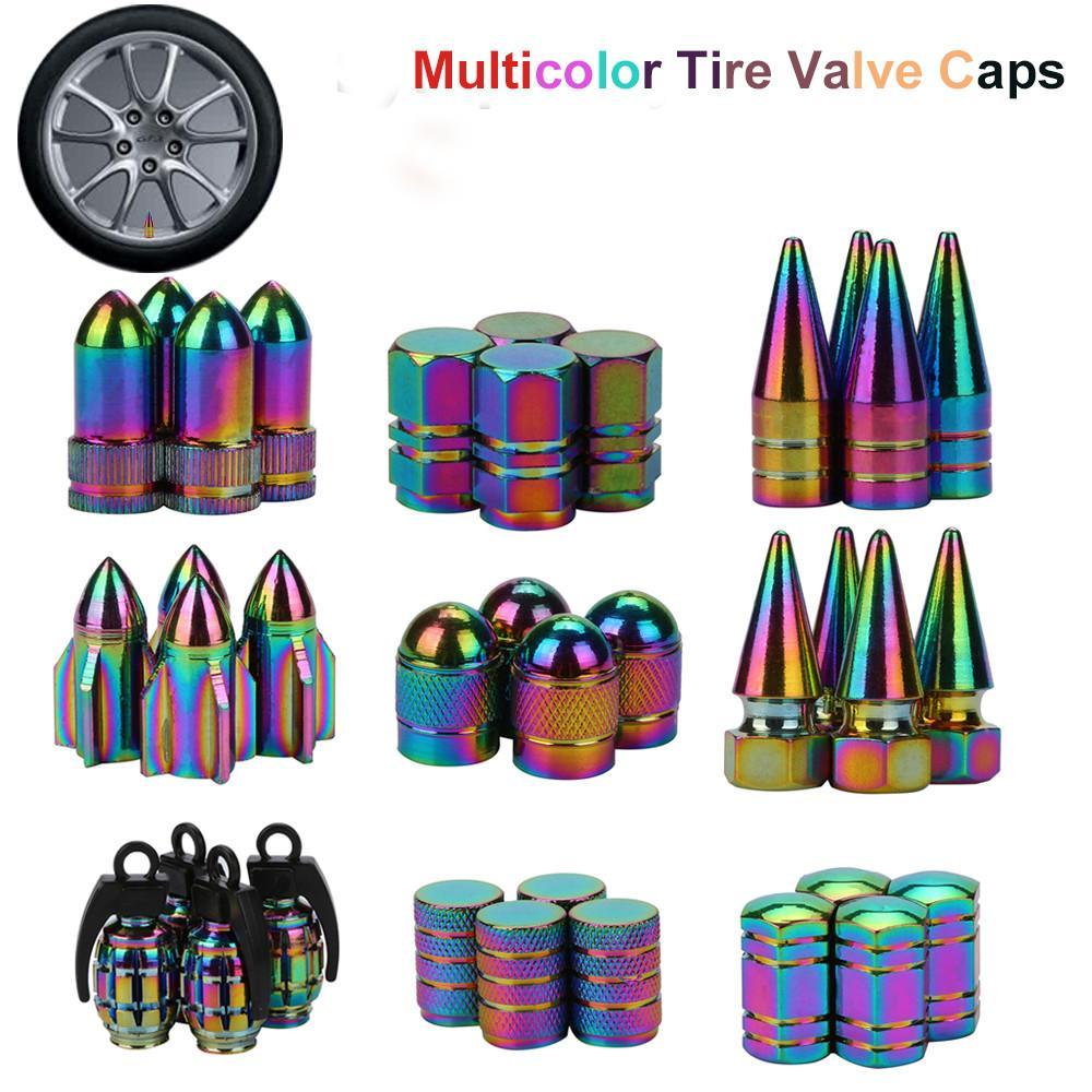 Neon Lights Color Aluminum Car Tire Valve Caps Bullet Grenade Design ...