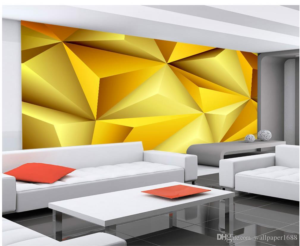Gold High End 3d Diamond Pattern Tv Background Wall Decoration ...