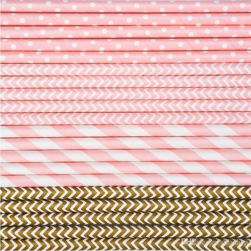 Light Pink Paper Straws For Cupcake Flags Kids Birthday Wedding Cake Decoration Party Event Supply