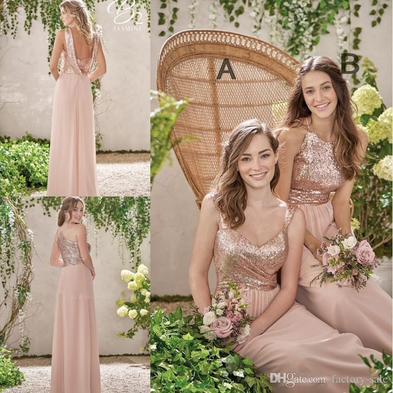 2019 barato de oro rosa de dama de honor vestidos de espagueti sin respaldo de las lentejuelas de gasa barato Long Beach Ráfagas de boda vestido de dama de honor Vestidos BM0153