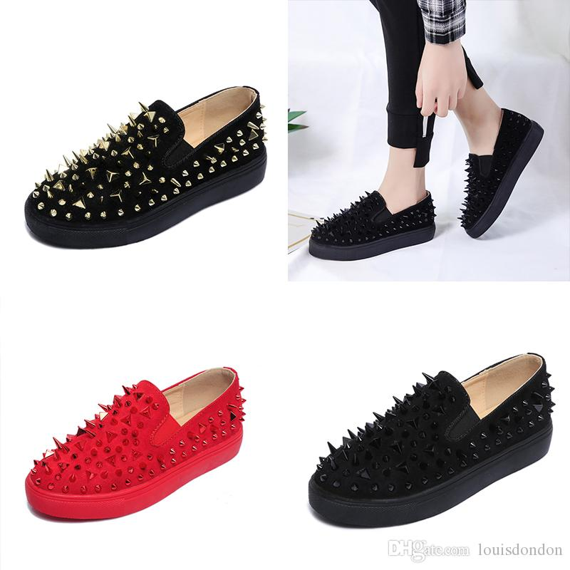 Fashion Runway Style Wholesale All Studs and Spikes Red Black Gothic Girl Suede Flat Casual Shoes Women Slip On Loafers
