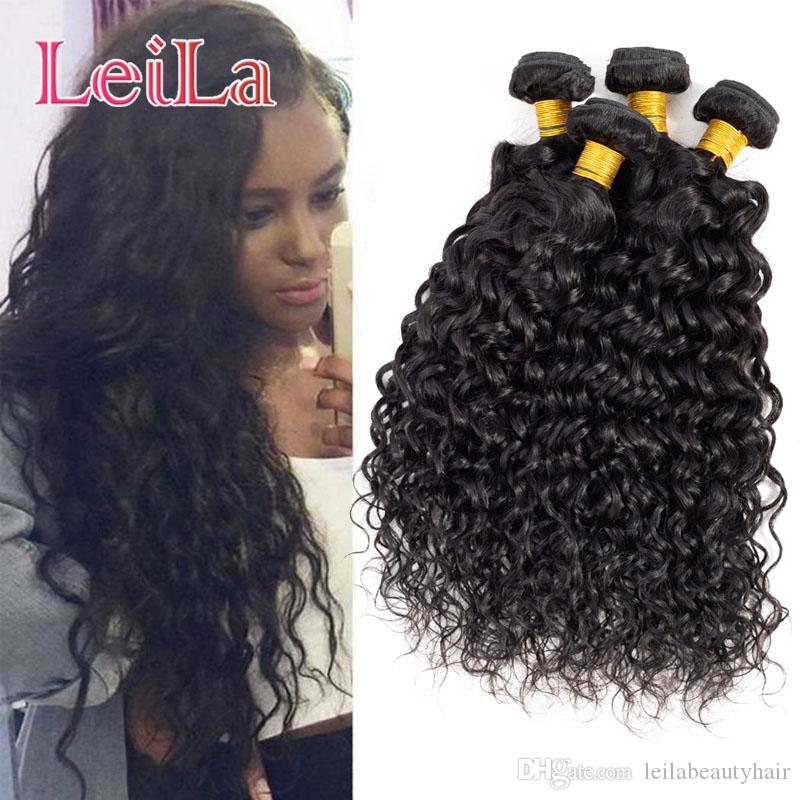 Brazilian Virgin Hair Water Wave 4 Bundles Leila Double Wefts Wet And Wavy  Human Hair Extensions Weaves 8 28inch Brazilian Water Wave Hair Extension  Weaves ...