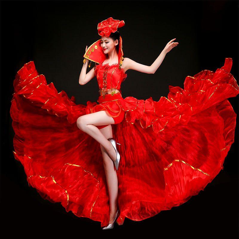 d6ec1ef8cf85a 2019 Sexy Dance Costume Stand Collar Nightclub Singer Performance Dress Big  Swing Skirt Dance Ballroom Stage Wear Carnival Women Apparel From  Fleming627, ...