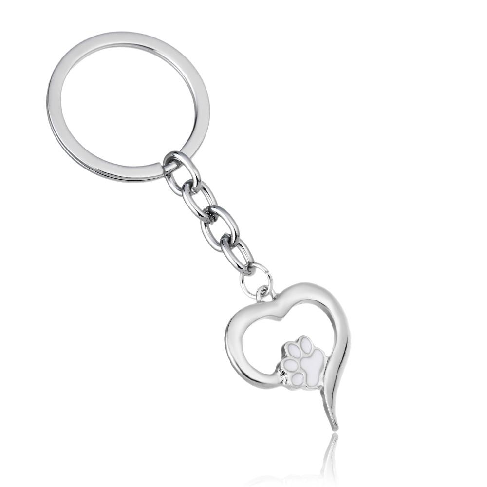 Love Heart Dog Cat Print Charm Keychain Family Women Men Pet Rescue Jewelry  Gift For Friends Car Keyring Key Fob Key Holder Key Chains From Arrowhead 860548df48