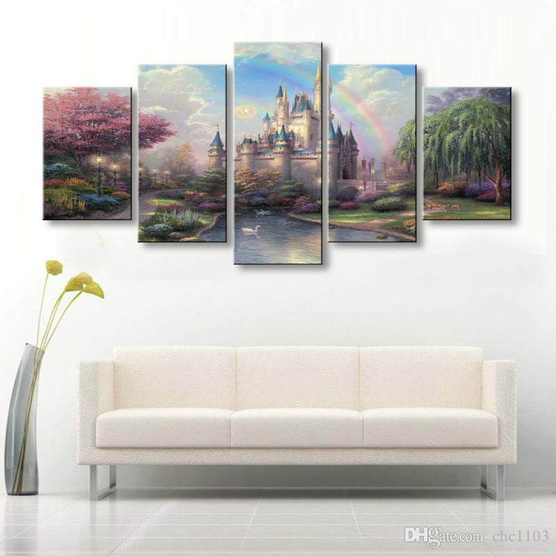 high-definition print Fairy tale castle canvas painting poster and wall art living room picture HL-010