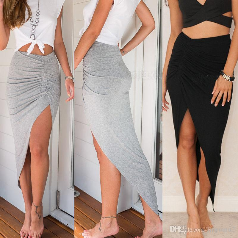 Online Cheap Skirts 2017 New Fashion Womens Ladies Ruched Side Split Slim  Skinny Slit Maxi Long Pencil Skirt New Arriving Wholesale Size 6 16 By  Linyoutu2 ...