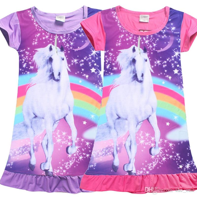 ad58093b66d828 Crianças Meninas Mangas Curtas Bonito Animal Unicórnio Cavalo Rainbow  Impresso Camisola Sleepwear Roupa Das Meninas Vestido Diário pijamas