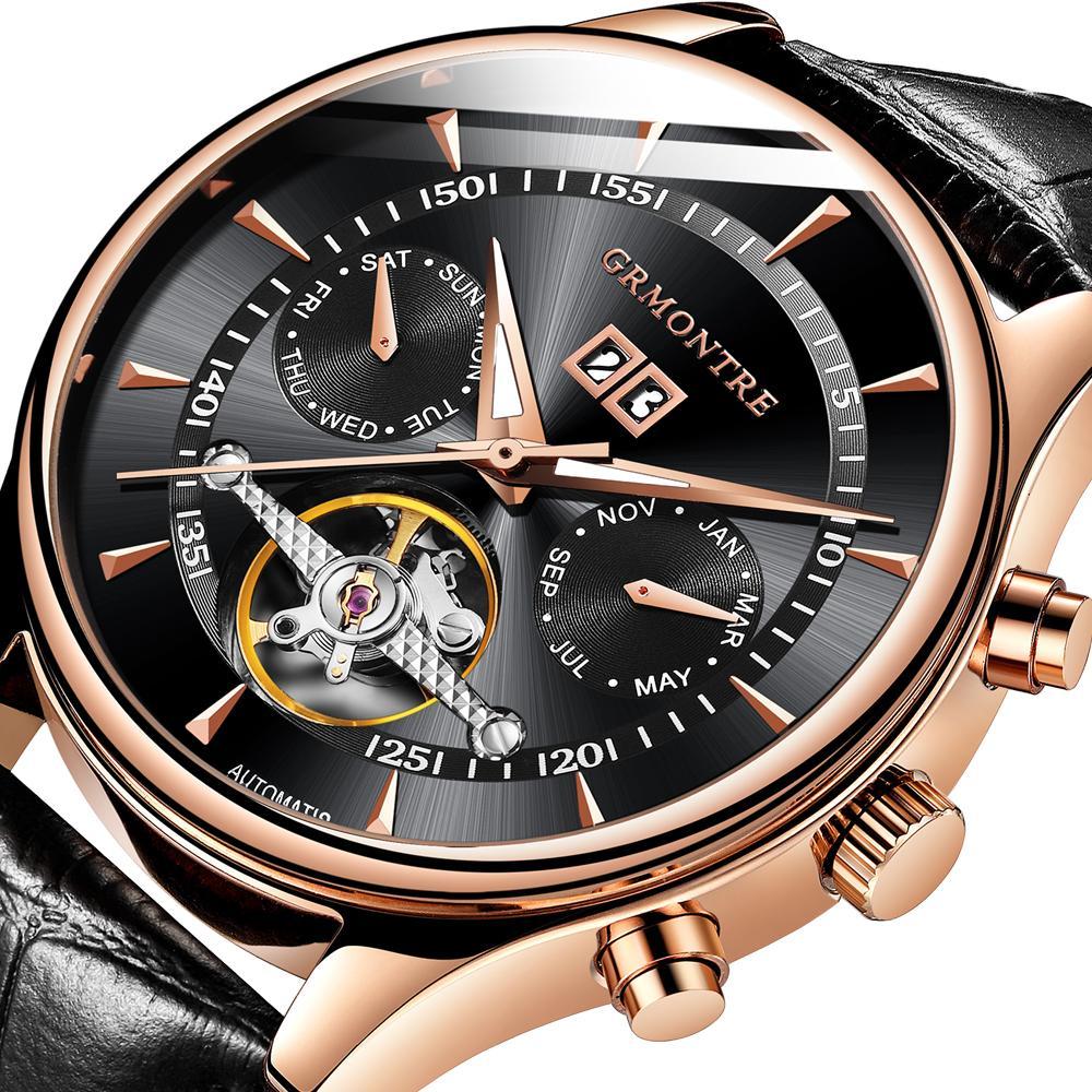 8acd3f2bb78 Relogio Masculino Automatic Watches For Men Mechanical Skeleton Fashion  Watch Black Clock Erkek Kol Saati Reloj Hombre GRMONTRE Clearance Watches  High ...
