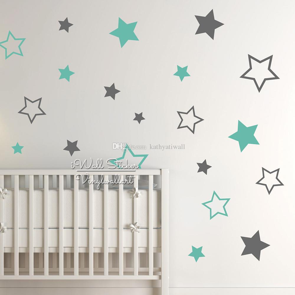 Compre Bebé Nursery Stars Etiqueta De La Pared Estrella Tatuajes De Pared  Decoración De La Habitación De Los Niños Sala De Niños Extraíble Papel  Pintado Del ... cd7848b115f7