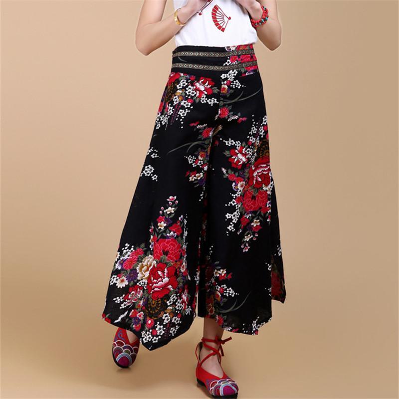2018 Summer Palazzo Pants Women Cotton Linen Vintage Bottom Pantalon Femme Clothes Elegant Trousers Ethnic Casual Wide Leg Pants