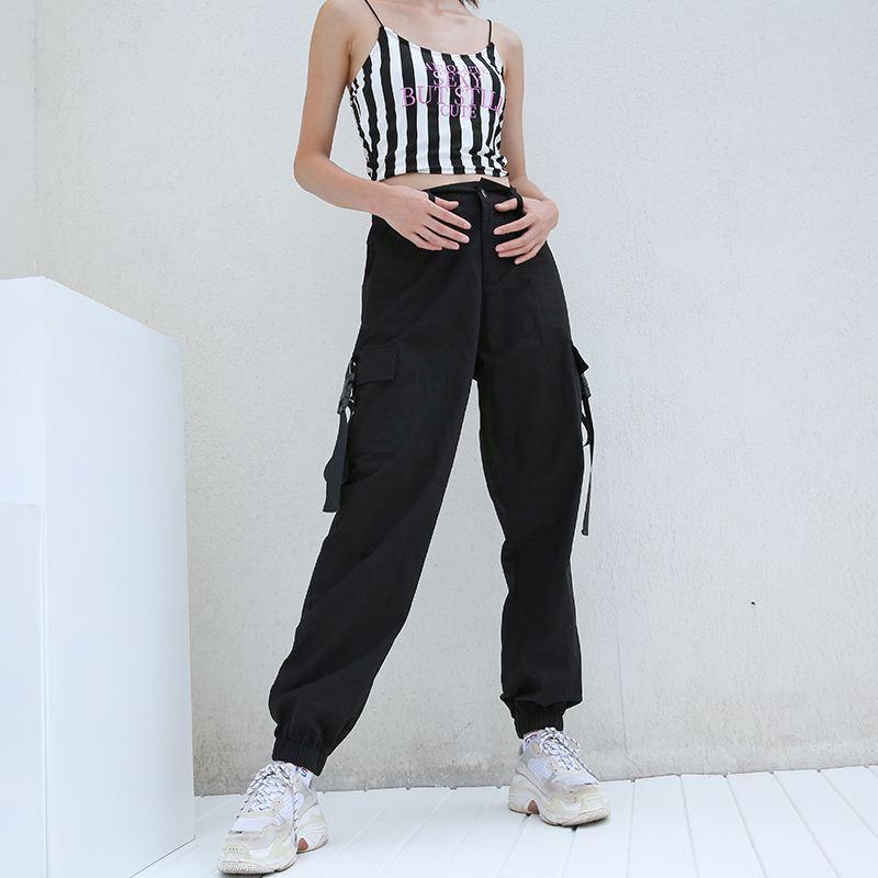 cda9970d5d2 2019 Streetwear Cargo Pants Women Casual Joggers Black High Waist Loose  Female Trousers Korean Style Ladies Pants Capri From Angelyanyan
