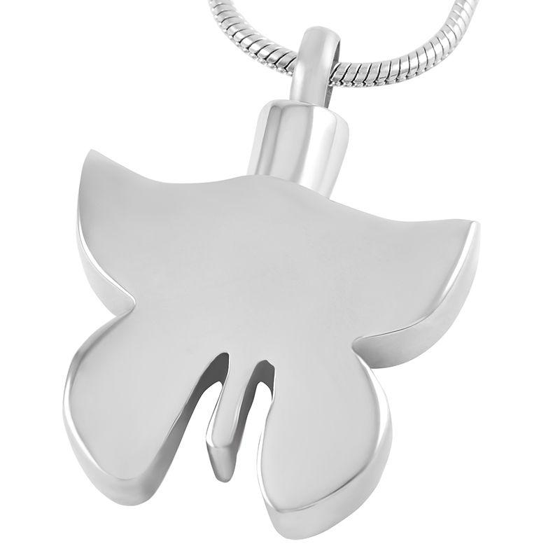 IJD9526 Animal Keepsake Murano Glass Butterfly Collar de cremación de acero inoxidable Pet Memorial Urna Joyas Colgante para cenizas