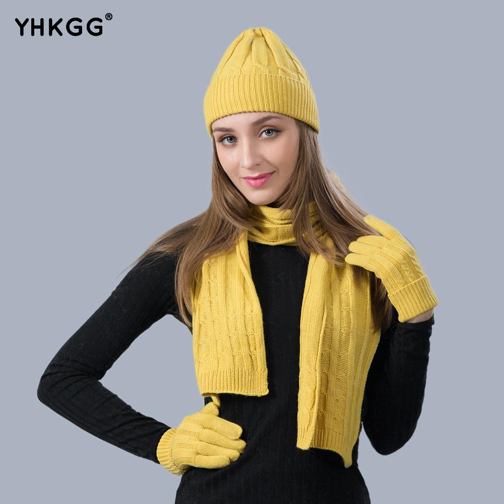 YHKGG Women Autumn And Winter Fashion Classic Knitted Wool Three Sets Twist Warm  Wool Hat Scarf Glove Suit Scarf Hat   Glove Sets Cheap Scarf Online with ... 91ec13add4b0