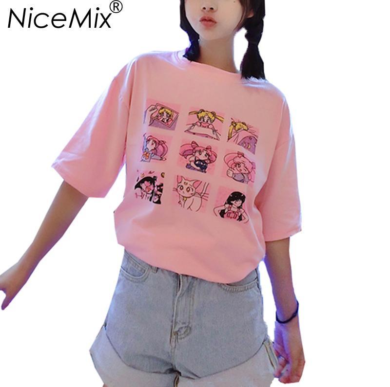 3c3487edf3b NiceMix Kawaii T Shirt Summer Women Tops 2017 Harajuku T Shirts Print  Sailor Moon Loose Short Sleeve Plus Size Tee Shirt Femme Custom Shirt Black  Shirts ...