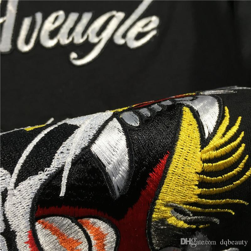 New Mercerized cotton T shirt men brand clothing super smooth Embroidery Tiger Head T-shirt male top quality casual