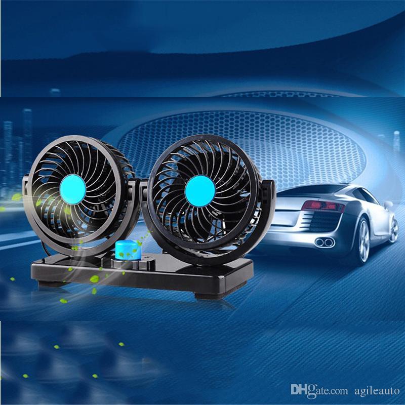 Mini Electric Car Two Head Fan Low Noise Estate Auto Aria Condizionatore di raffreddamento Ventilatore 12V 360 gradi di rotazione 2 Gears Regolabile CEC_80A