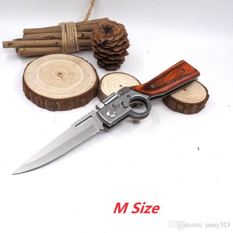 AK47 Tabanca Bıçak Katlanır Çakı 440 Blade LED Işık Ile Ahşap Kolu Taktik Kamp Survival Bıçaklar Açık Havada EDC Aracı