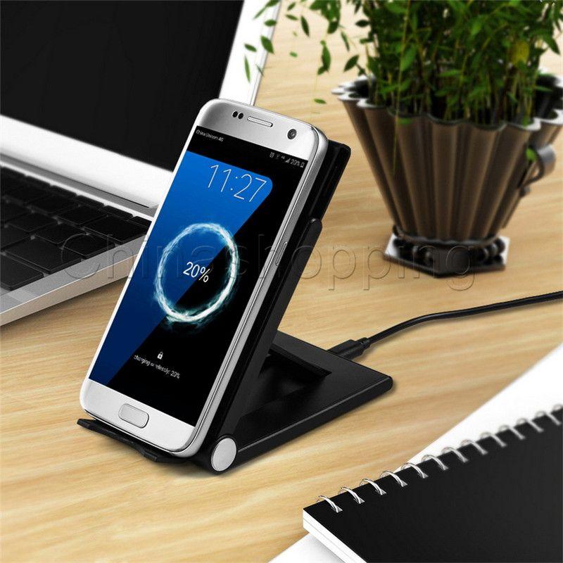 Caricatore pieghevole universale regolabile il supporto del caricatore wireless Qi Samsung S8 Plus Bordo S7 Nota 8 iPhone X 8 con confezione