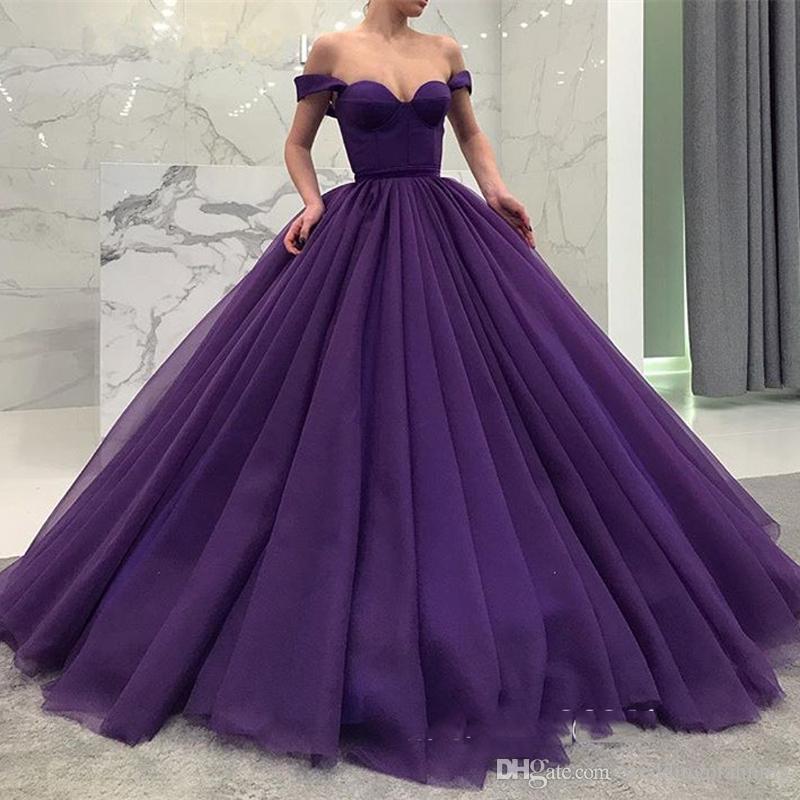 e91fdb09 Compre Una Línea Fuera Del Hombro Púrpura Vestido De Fiesta Vestidos De  Baile Ruffle Con Cordones Dulce 16 Vestido De Fiesta Vestido De Quinceañera  Vestido ...