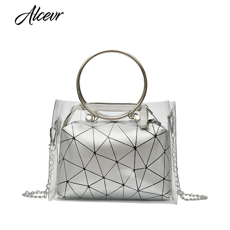 609b35cad1 ALCEVR Women Handbag Metal Circle Messenger Bag Geometric Laser ...
