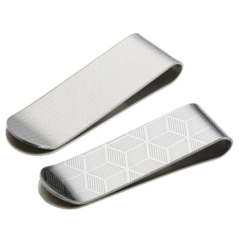 Stainless Steel Design Card ID Case Money Paper Clip Metal Case Men Stripe Print Clamp Clips Card Holder Brass Office Supplies