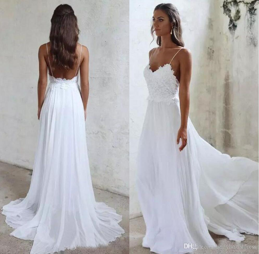 9ee186ec605 Discount 2018 Spaghetti Straps Chiffon A Line Summer Beach Wedding Dresses  Lace Top Backless Court Train Bridal Gowns Princess Line Wedding Dress  Simple A ...