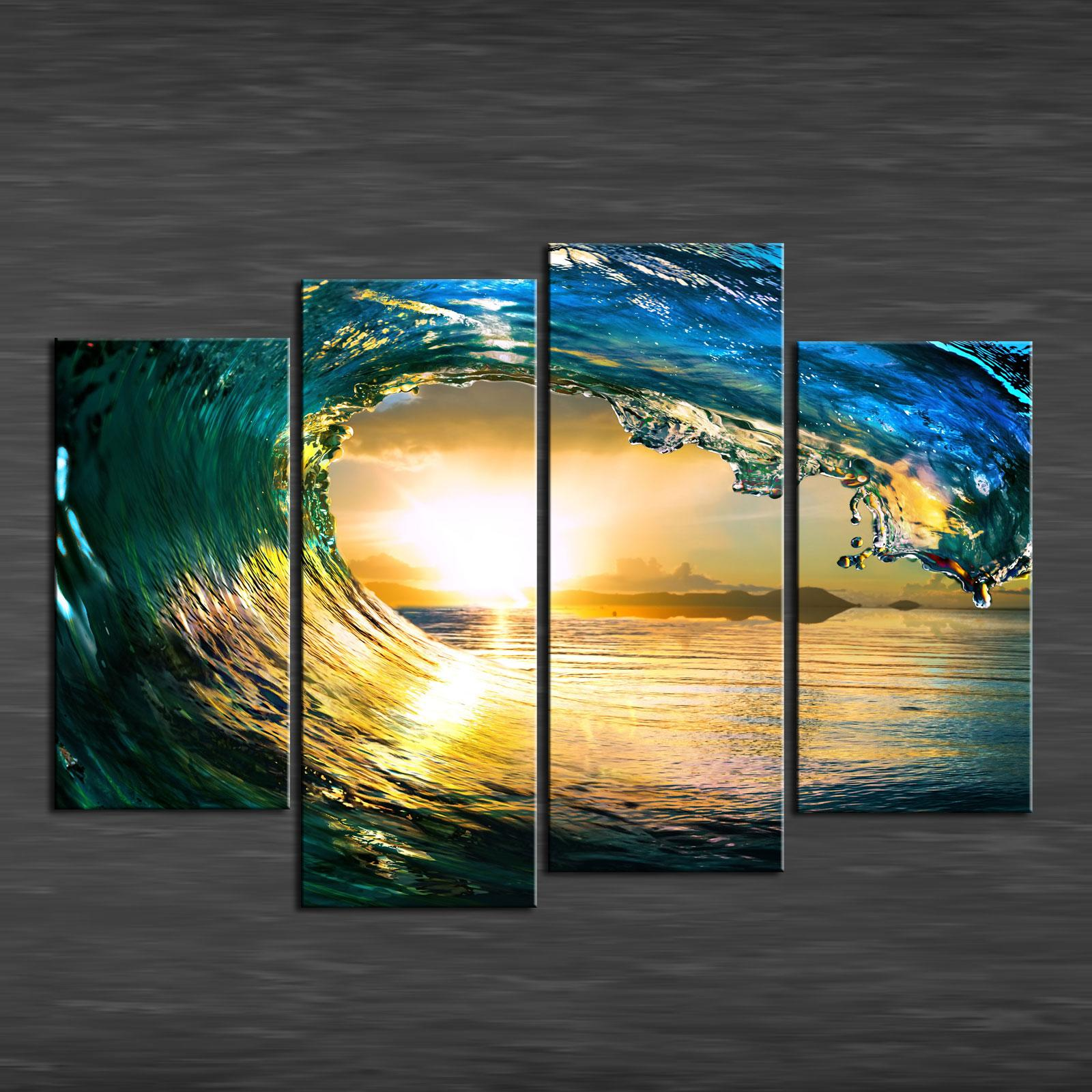 2018 Paradise Ocean Sea,Canvas Prints Wall Art Oil Painting Home ...
