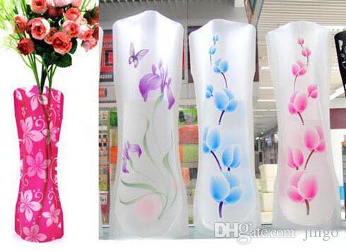 Faltbare mehrfachverwendbare Plastikblumen-Vase Unbreakable Kreative Folding Magie PVC Vase 12cm * 27cm Home Decor Randomly liefern Farbe nt