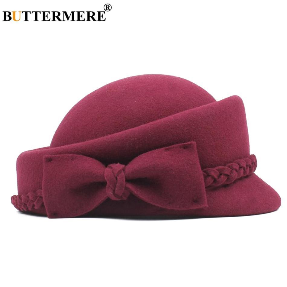 Compre BUTTERMERE Sombrero De Boina Francesa De Lana Mujer Invierno Borgoña  Pintores Sombrero De Señoras Elegante Bowknot Británico Otoño Artista Cap  ... 648526b7f66
