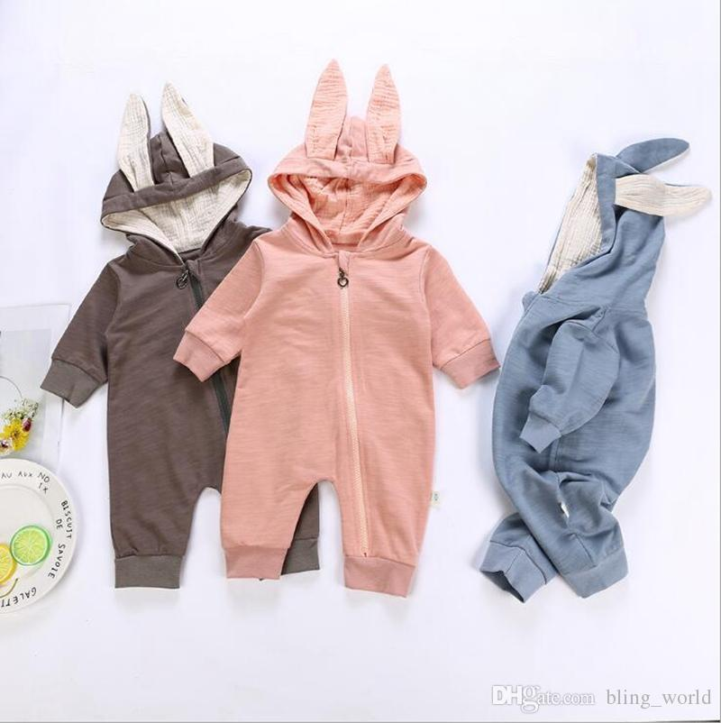 b8901e3266ac1 2019 Kids 100% Cotton Clothing Baby Cute Rabbit Ears Hooded Romper Toddler  Girls Long Sleeve Jumpsuits Infant Boys Designer Onesies Clothes YL792 From  ...