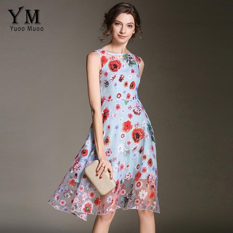 c97d234a09a53 YuooMuoo New Mesh Dress Summer Women Short Floral Print Party Dresses  Vestidos High Street European Fashion Chic Blue Dress