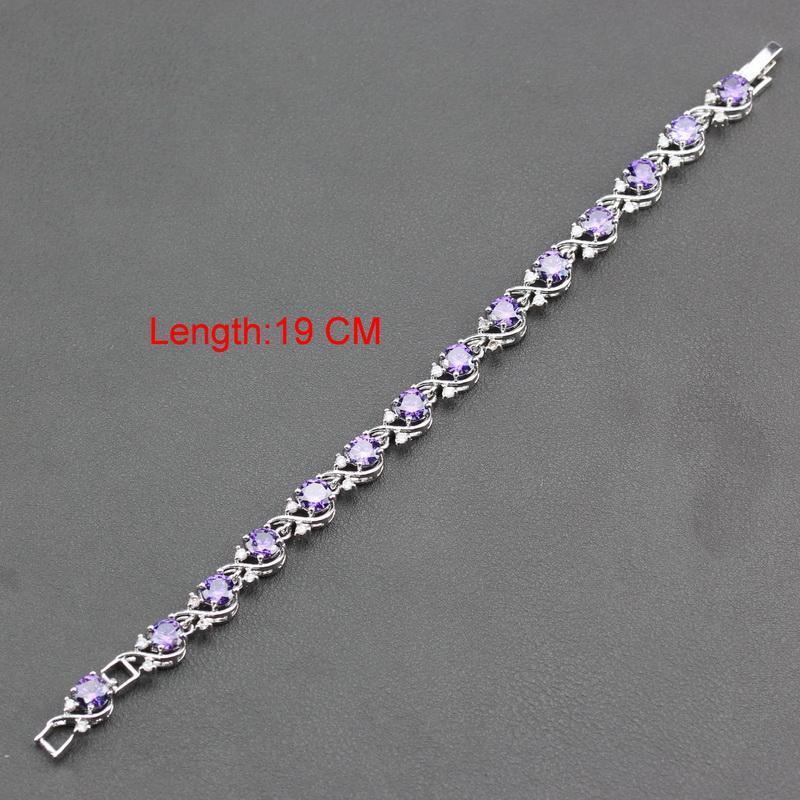 Manny Della 925 Gümüş Kadınlar Için Harika Beş Takı Setleri Mor Zirkon Bilezik / Küpe / Kolye / Kolye / Yüzük JS222