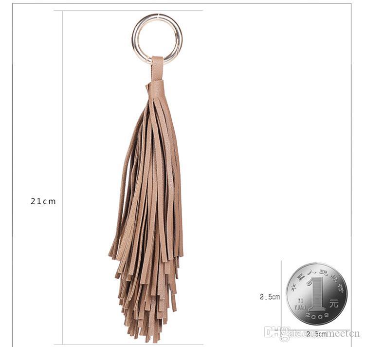 New Korean Style PU Leather Tassel Key Chains Fashion Keychains Women Bag Charm Pendant Car Key Rings Keyrings