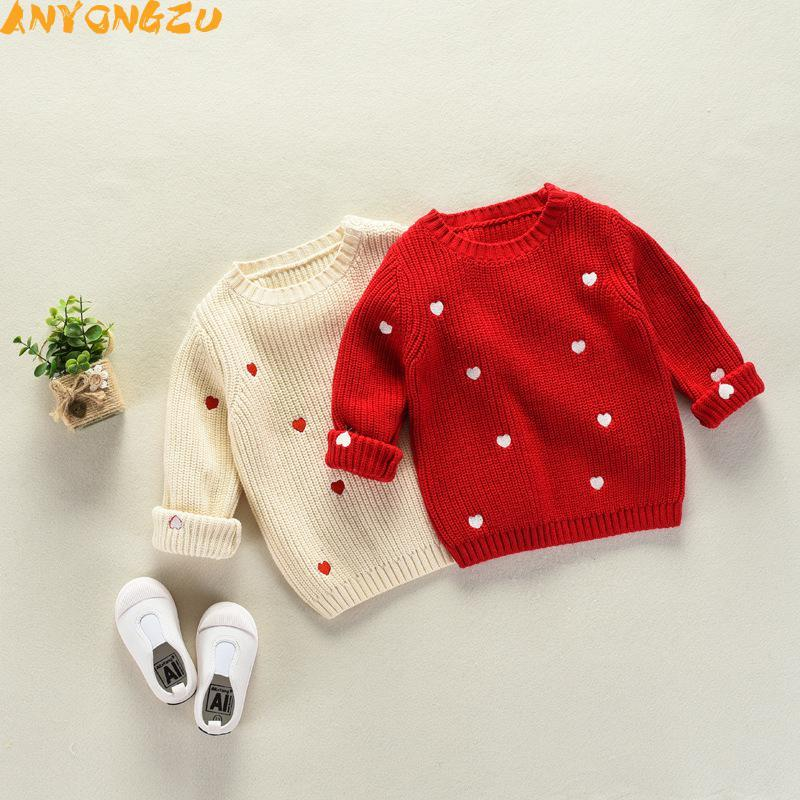dbdad1b4f Anyongzu Chinese Style Girls Children Sweater Thick Small Love Baby ...