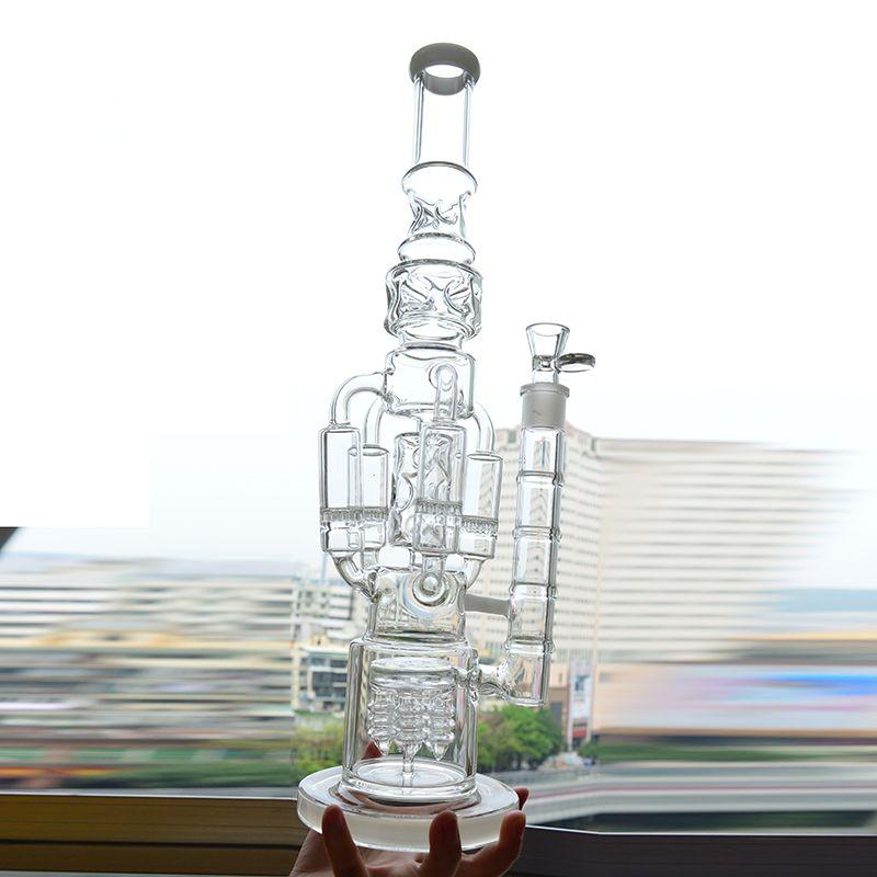 Grand verre d'eau Bong Recycler Oil Rig 4 Rocket nid d'abeille Perc Bubbler Dab Rig 18