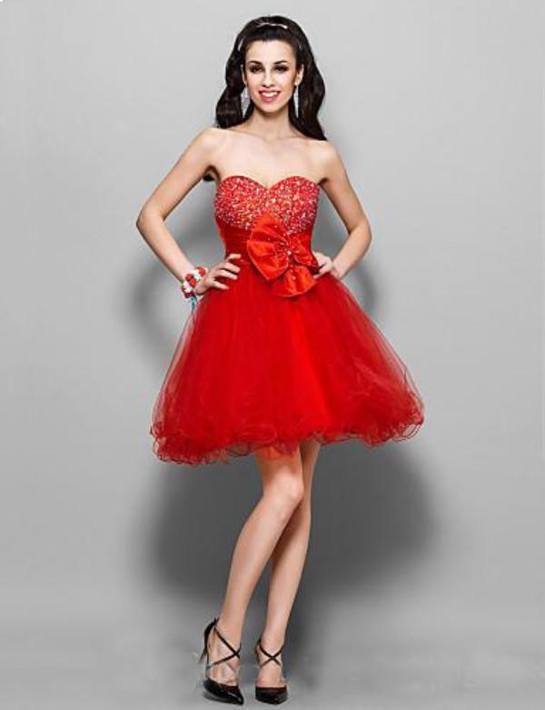 Sexy Rote Perlen Kristalle Schatz Empire Tüll Kleine Cocktailkleider Mädchen Kurze Partykleider Trägerlose Homecoming Kleider Seitlichem Reißverschluss