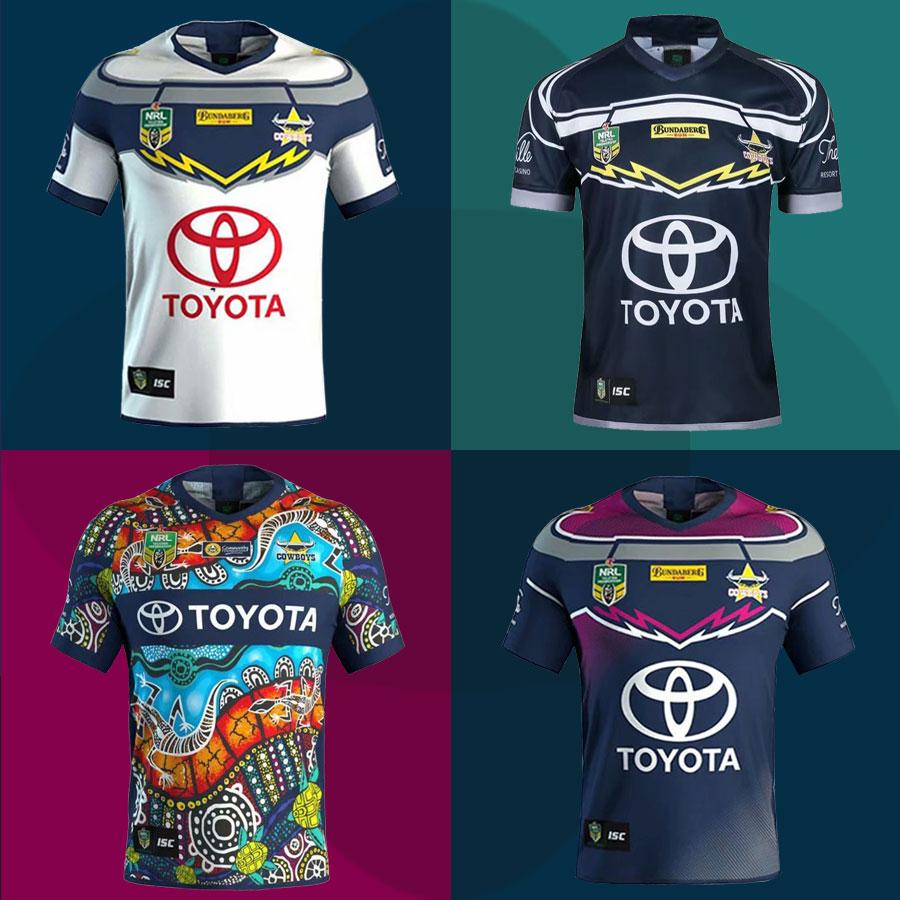 pretty nice a924d 2118d New 2018 NRL North Queensland Cowboys Rugby Jersey Home Away INDIGENOUS  2019 Cowboys Rugby Shirt Limited Commemorative Edition Fast Shipping