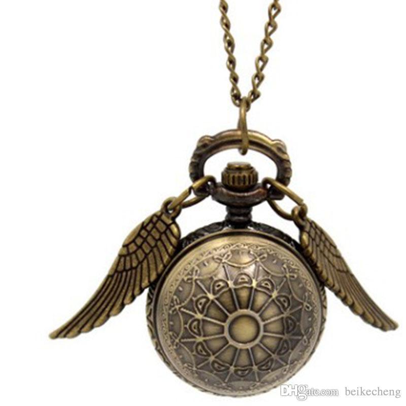 Relógio de Bolso de bronze Antigo Bronze Asa Bola Pingente de Colar de Corrente de Jóias de Moda