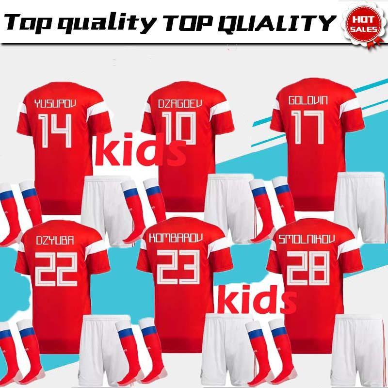 4a2bbbc82 2018 Russia Soccer Jerseys DZAGOEV ARSHAVIN KERZHAKOV KOMBAROV KOKORIN  YUSUPOV Home Red Youth Football Shirt Kids Kits Soccer Jersey UK 2019 From  ...