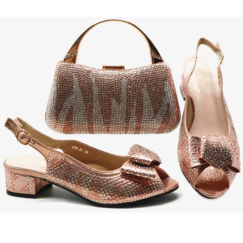 feda0a0cba Latest African Shoes And Matching Bags Italian Nigerian Wedding Shoes And Bag  Set Decorated With Rhinestone Low Heels Women Pumps Boots Shoes White  Mountain ...