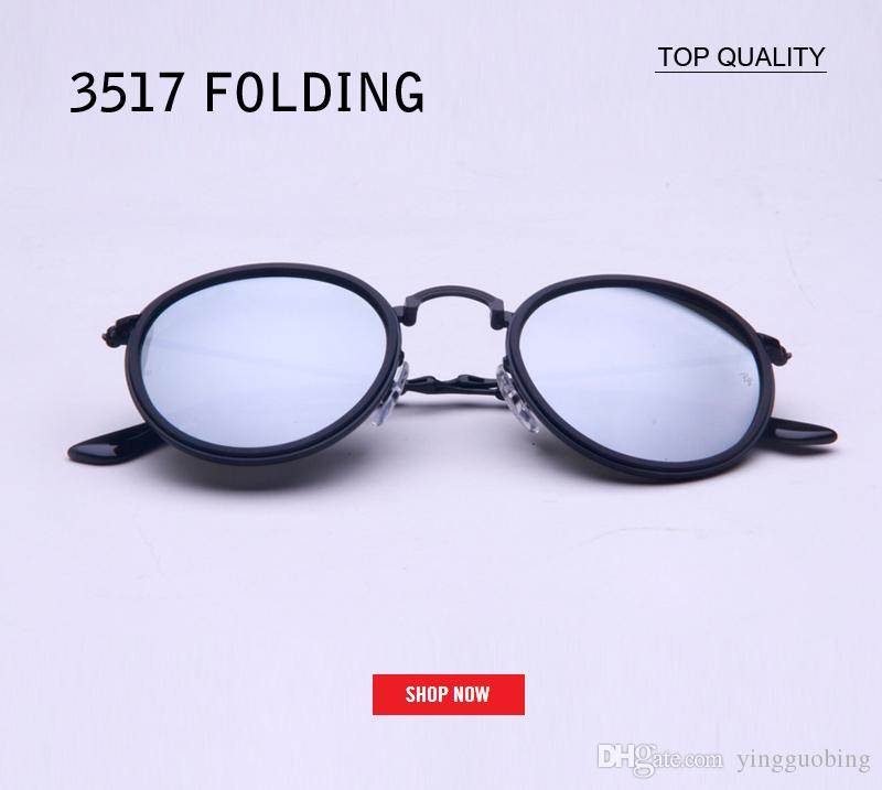 6110293397 New Foldable Sunglasses Men Vintage Folding Brand Steampunk 3517 Women  Flash Circle Luxury Men Mirror Sunglasses Round Gafas Sunglass Locs  Sunglasses ...