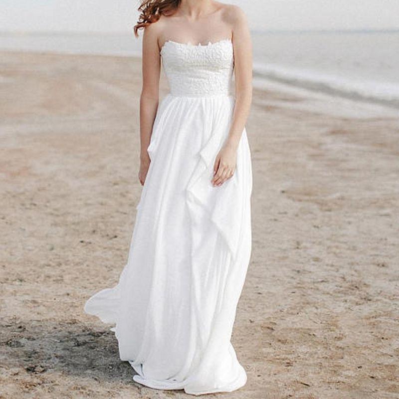 Simple Casual Wedding Ideas: Discount Simple Beach Wedding Dress Chiffon Strapless A